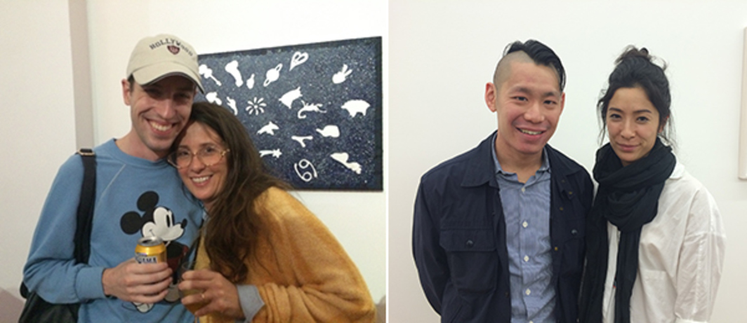 Left: Artists Julien Ceccaldi and Laura Owens. Right: Whitney Biennial curators Christopher Y. Lew and Mia Locks.