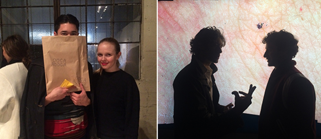 Left: Artist Parker Ito and Chateau Shatto dealer Liv Barrett. Right: Artists Seth Price and Jordan Wolfson.