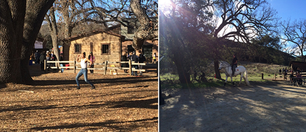 Left: Ligia Lewis peformance at Paramount Ranch. Right: Cowboy.