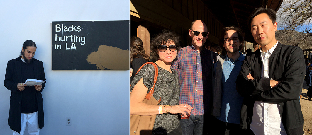 Left: Artist Bobby Jesus. Right: Artist Lisa Oppenheim, curator Jacob Proctor, and High Art's Romain Chenais and Jason Hwang.
