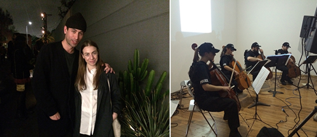 Left: Artists Joshua Abelow and Sofia Leiby. Right: James Ferraro performance at Chateau Shatto.