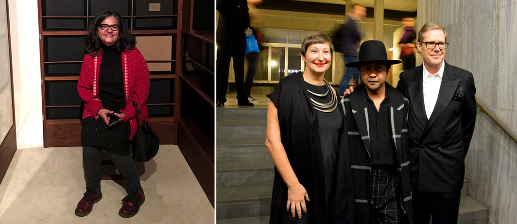 Left: Artist Dayanita Singh at KNMA. Right: Françoise Gardies with artist Joël Andrianomearisoa and Swiss Ambassador Linus von Castelmur. (Photo: Patrice Sour)