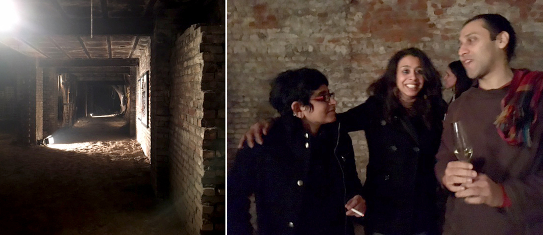 Left: The ruin at Asim Waqif's site-specific installation Autolysis, by Nature Morte. Right: Director Zuleikha Chaudhari with artists Rohini Devasher and Vishal Dar at One Style Mile.
