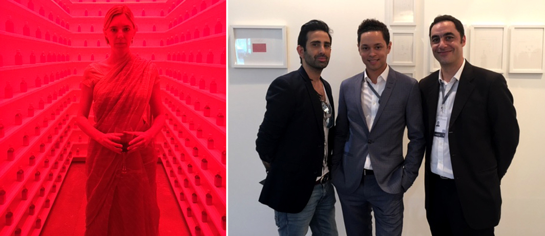 "Left: Art historian Sophia Powers inside Shilpa Gupta's installation at ""This Night Bitten Dawn"" at 24 Jor Bagh. Right: Designer Tahir Sultan and Delfina Foundation director Aaron Cezar at Sabrina Amrani's booth."