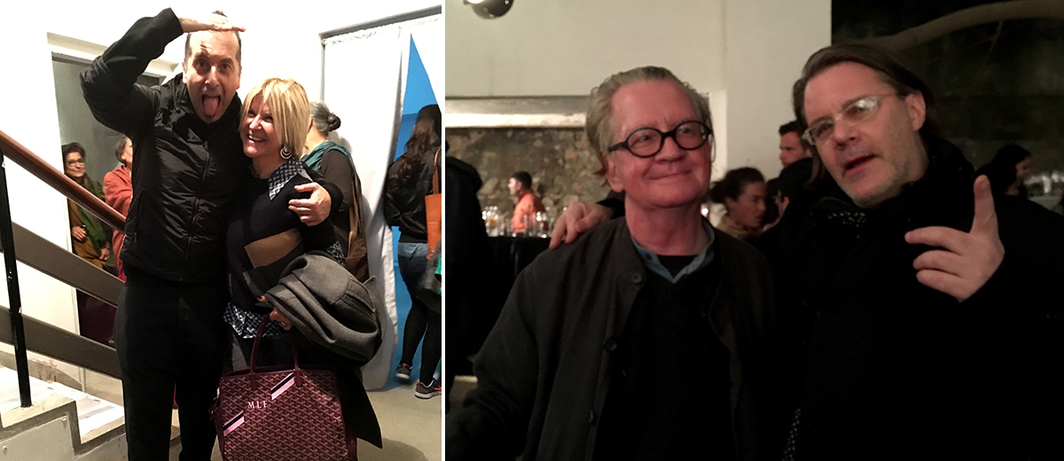 Left: Artist Giuseppe Stampone with dealer Marie-Laure Fleisch. Right: Dealer Peter Nagy and Brian Mulvill of the World Tea Party.