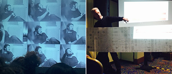 "Left: Harald Szeemann pictured in a slide during ""Exhibition History as Contemporary Art History."" (Photo: Eva Diaz) Right: Matthew Ritchie speaking at ""Diagram Aesthetics in the Twentieth Century: Histories and Theories."" Photo: Jessica van Brakle."