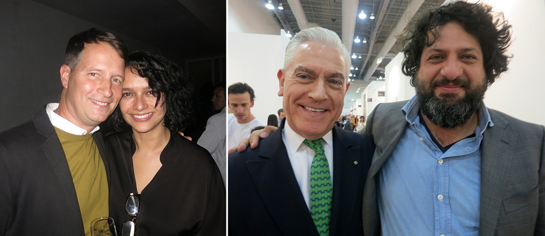 Left: Artist Terence Gower and dealer Pamela Echeverria. Right: Collector Sir Mark Fehrs Kaukohl and Museo Tamayo director Juan Andrés Gaitán.