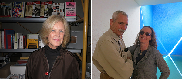 Left: Art bookseller Dagny Corcoran. Right: Artist James Brown and Carpe Diem publisher Alexandra Brown.