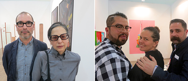Left: Artists Dan McCarthy and Paula Greif. Right: Artist Joaquin Trujillo with dealer Shelley De Soto and artist Brian Paumier.