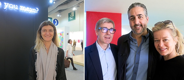 Left: Dealer Paola Potena. Right: Dealers Timothy Taylor, Teofilo Cohen, and Helen Windsor.
