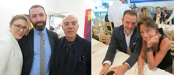 Left: Kunsthalle Basel director Elena Filipovic with David Roberts Art Foundation director Vincent Honoré and dealer Marc Foxx. Right: Ruffino Tamayo Foundation president David Cohen and dealer Liz Swig.