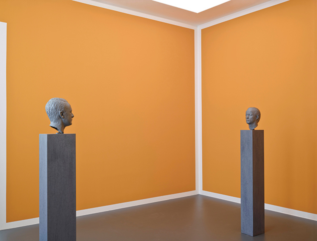 Blinky Palermo and Gerhard Richter, Two Sculptures for a Room, 1971, wall paint, oil paint on bronze, oil paint on wooden pedestals. Installation view, Städtische Galerie im Lenbachhaus, Munich, 2013. © Blinky Palermo/Artists Rights Society (ARS), New York/VG Bild-Kunst, Germany.