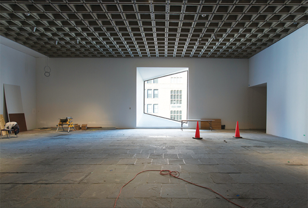 Marcel Breuer's 1966 Whitney Museum of American Art under restoration, New York, November 24, 2015. Photo: Chris Heins.