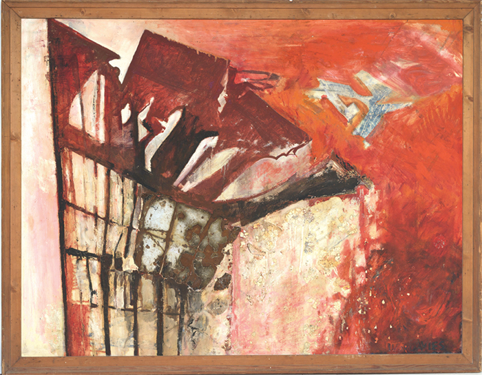 "Ivor Davies, Disintegrating, ca. 1956, oil, eggshell, and metal on board, 36 × 48""."