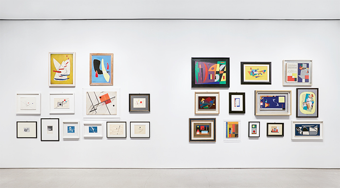 "View of ""Painting in Italy 1910s–1950s: Futurism, Abstraction, Concrete Art,"" 2015–16. Photo: Tom Powel Imaging."