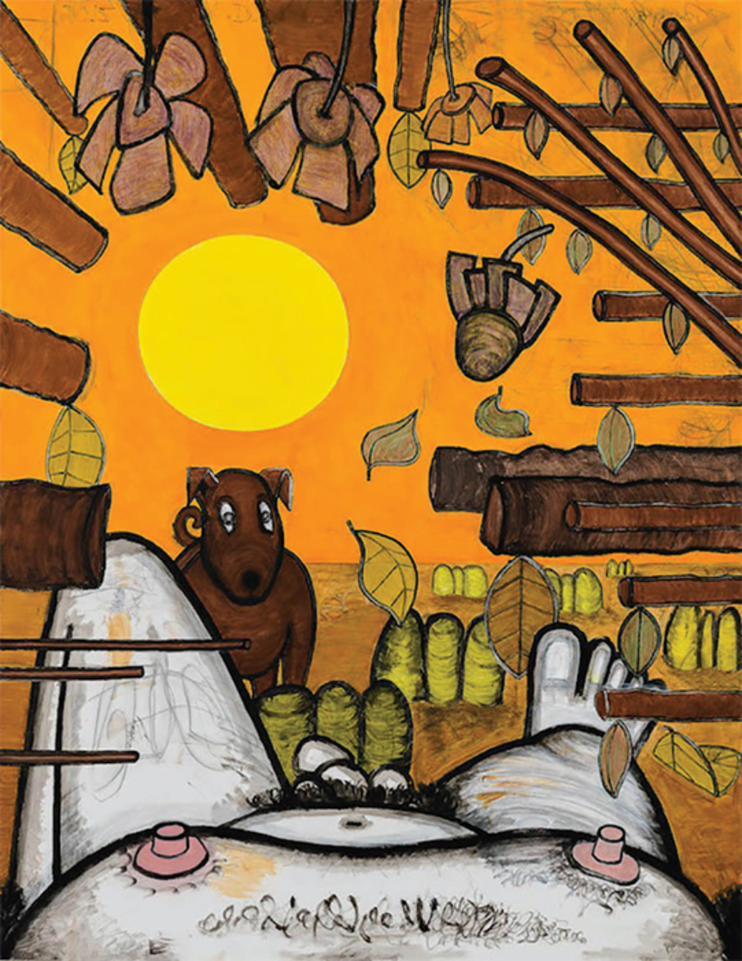 "Carroll Dunham, Now and Around Here (3), 2015, mixed media on linen, 88 1/8 × 68 1/8""."