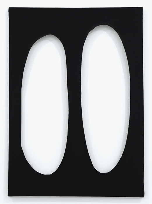 "Dadamaino, Volume, 1958, tempera on canvas, 27 1/2 × 19 3/4""."