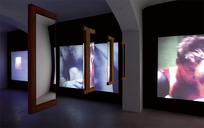 "View of ""Dóra Maurer,"" 2015. Foreground: Four From Three, 1976. Background: Inter-Images 1–3, 1980–90. Photo: Ondřej Polak."