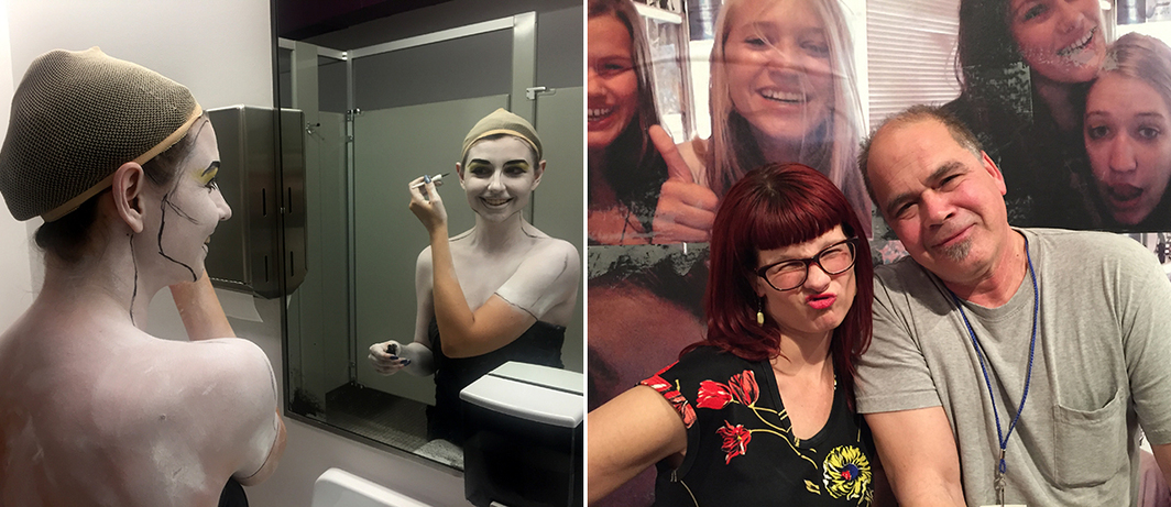 Left: Geneva Jacuzzi in the ladies room at the Geffen. Right: Allison Wolfe and music critic Byron Coley.