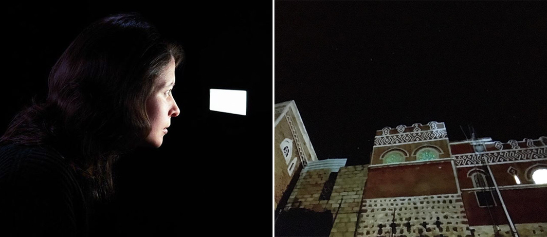 Left: View of Laura Poitras, Disposition Matrix, 2016. (Photo: Sarah Wilmer) Right: View of Laura Poitras, Bed Down Location, 2016. (Photo: Matthew Carlson)