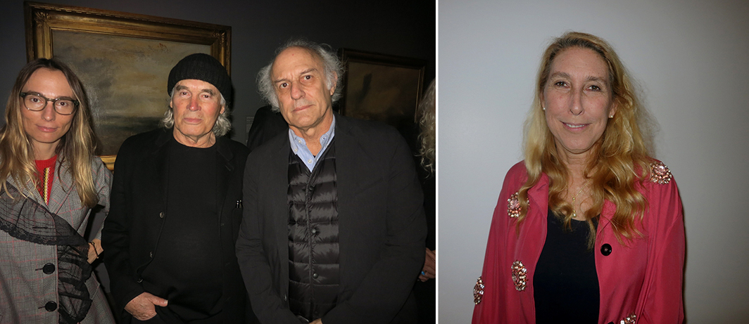 Left: Artists Mirabelle Marden and Brice Marden with filmmaker Leon Falk. Right: New Museum director Lisa Phillips.