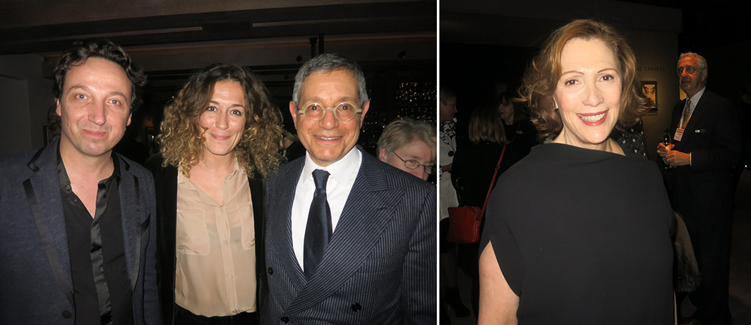 Left: Dealers Emmanuel Perrotin, Peggy Leboeuf, and Jeffrey Deitch. Right: ADAA director Linda Blumberg.
