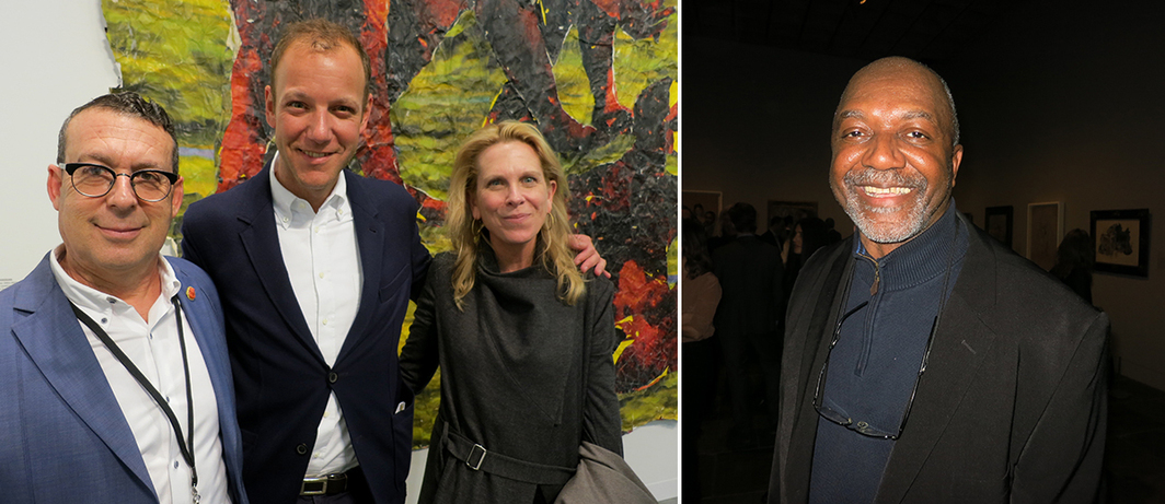 Left: Dealer Jack Shainman, Metropolitan Museum curator Ian Alteveer, and Museum Hotel (Louisville, KY) director Alice Gray Stites. Right: Artist Kerry James Marshall.