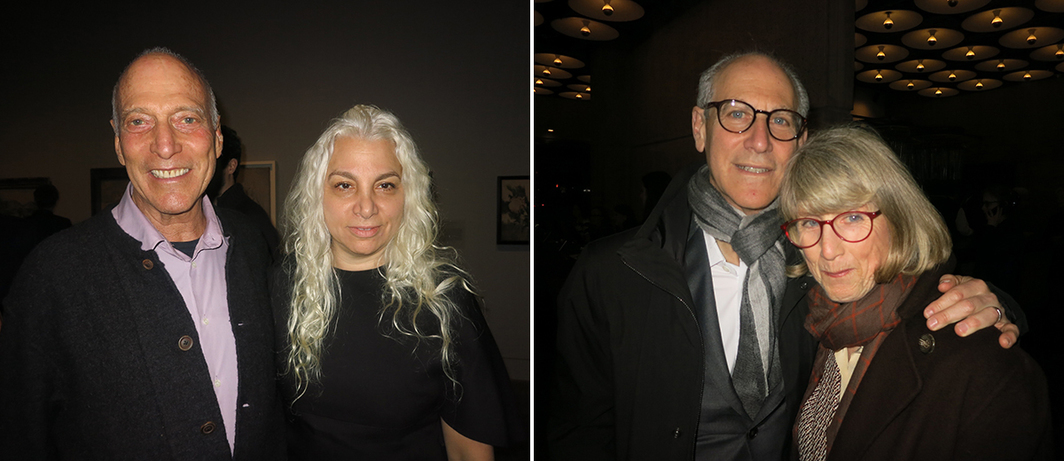 Left: Architect Bill Katz and dealer Andrea Rosen. Right: MoMA director Glenn Lowry and Susan Lowry.