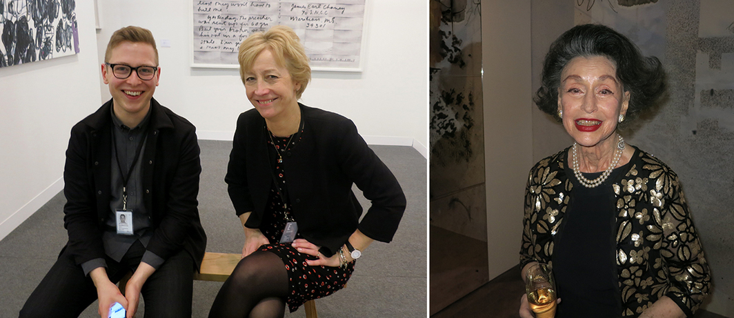 Left: Dealers Jonathan Horrocks and Pippy Houldsworth. Right: Philanthropist Phyllis Kossoff.