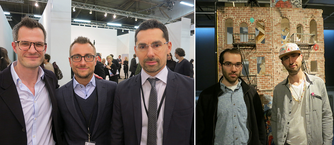 Left: Dealers Johannes Vogt, Alessandro Pasotti and Fabrizio Padovani. Right: Artists Benjamin Armas and Ori Carino.