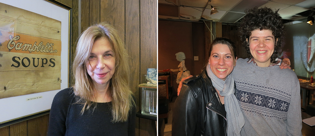 Left: Filmmaker Sara Driver. Right: Dealer Catherine Mahoney and artist Cate Giordano.
