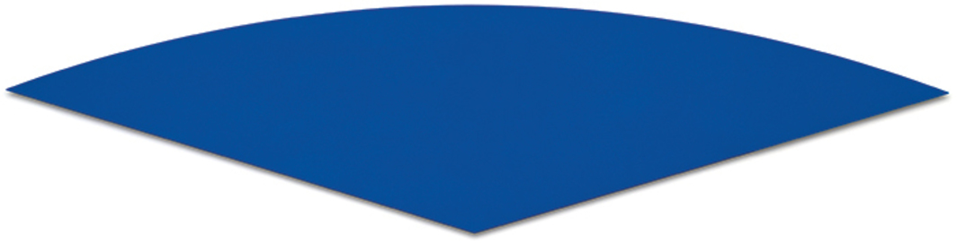 "Ellsworth Kelly, Dark Blue Curve, 1995, oil on canvas, 3' 10"" × 15' 10"". © Ellsworth Kelly."