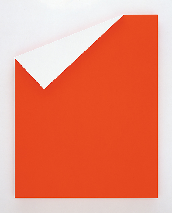"Ellsworth Kelly, Red with White Relief, 2002, oil on canvas, two joined panels, 81 × 63 × 2 5/8"". © Ellsworth Kelly."