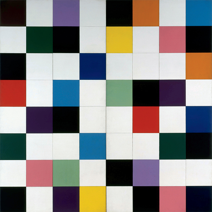 "Ellsworth Kelly, Colors for a Large Wall, 1951, oil on canvas, sixty-four joined panels, 94 1/2 × 94 1/2"". © Ellsworth Kelly."