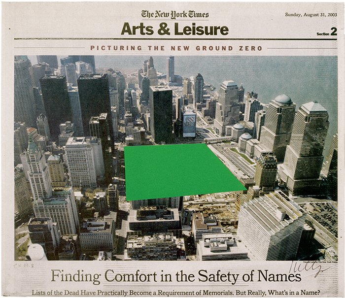 "Ellsworth Kelly, Ground Zero, 2003, collage on newsprint, 11 1/2 × 13 1/2"". © Ellsworth Kelly."