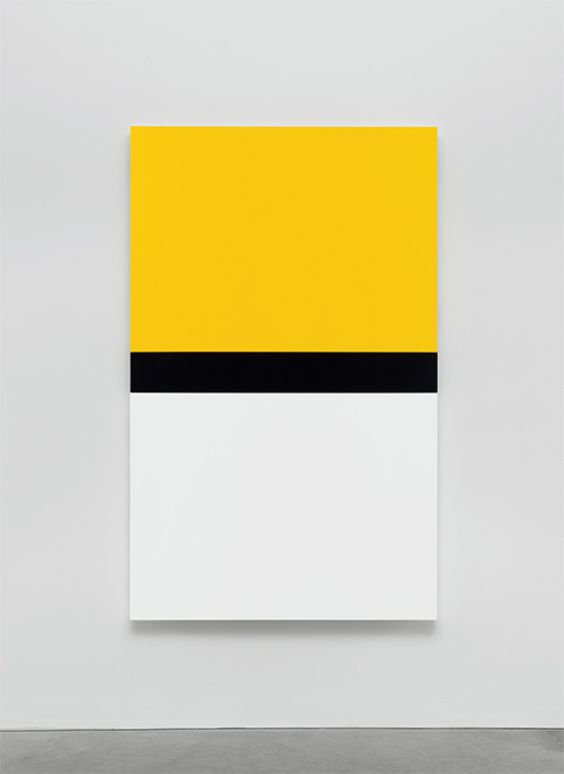 "Ellsworth Kelly, Yellow with Black and White, 2013, oil on canvas, three joined panels, 80 1/2 × 50"". © Ellsworth Kelly."