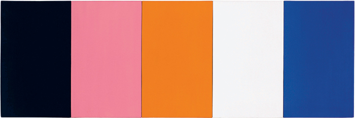 "Ellsworth Kelly, Painting for a White Wall, 1952, oil on canvas, five joined panels, 23 1/2 × 71 1/4"". © Ellsworth Kelly."