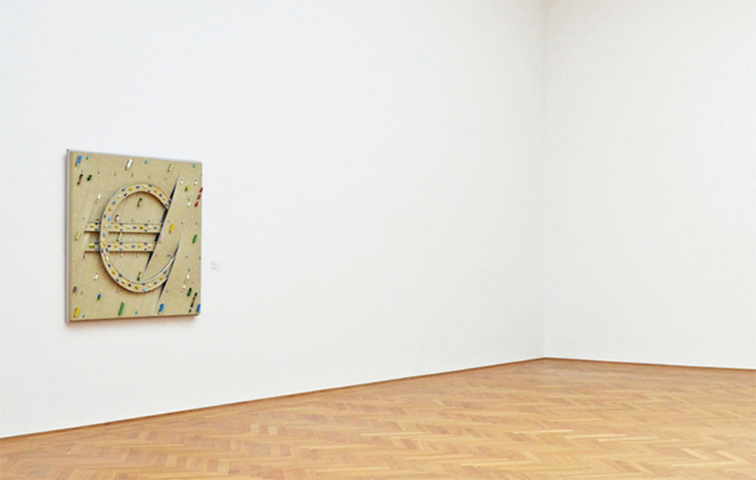 Thomas Bayrle's Euro, 1998, as installed in the Albertinum's Baselitz Room after Georg Baselitz's work was removed and returned to the artist at his request, Dresden, Germany, 2015.