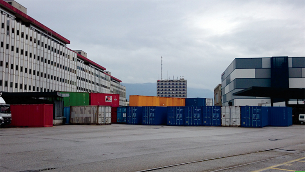 Shipping containers in the yard of Natural Le Coultre, Geneva Free Ports and Warehouses, June 4, 2014. Photo: Hito Steyerl.