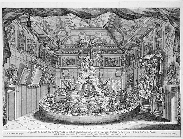 "Giacomo-Maria Giovannini (after Marc'Antonio Chiarini), centerpiece for the banquet of Senator Francesco Ratta, 1693, etching, 15 3/4 × 21 3/4"". Frontispiece from Disegni del convito (Designs of the Banquet) (Bologna: Per li Peri, 1693)."