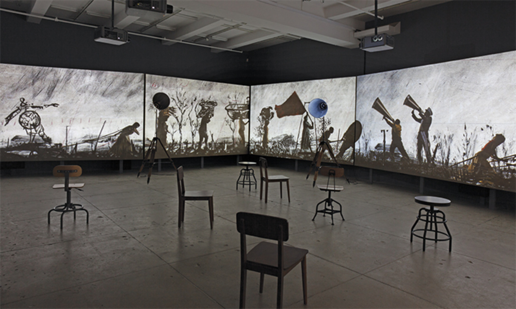 William Kentridge, More Sweetly Play the Dance, 2015, megaphones, eight-channel HD-video projection (color, sound, 15 minutes). Installation view.