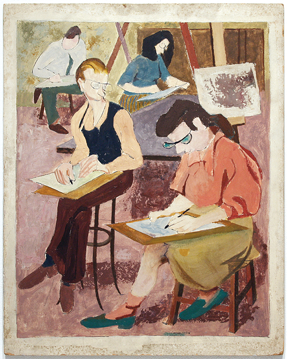 "Philip Pearlstein, Art Class, 1946–47, tempera on board, 20 × 16""."