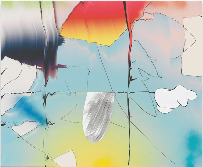 "Lauren Silva, Sling, 2015, ink-jet print on silk charmeuse with paper, acrylic, ink, gouache, and spray paint, 38 × 46""."