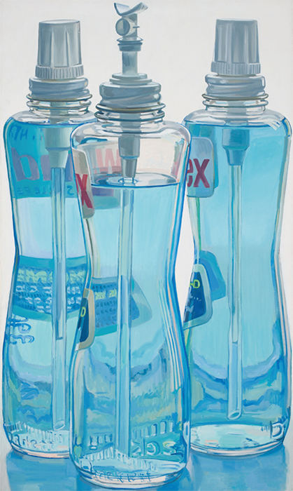 "Janet Fish, Windex Bottles, 1971–72, oil on linen, 49 3/4 × 29 3/4"". ©Janet Fish/Licensed by VAGA. New York, NY."
