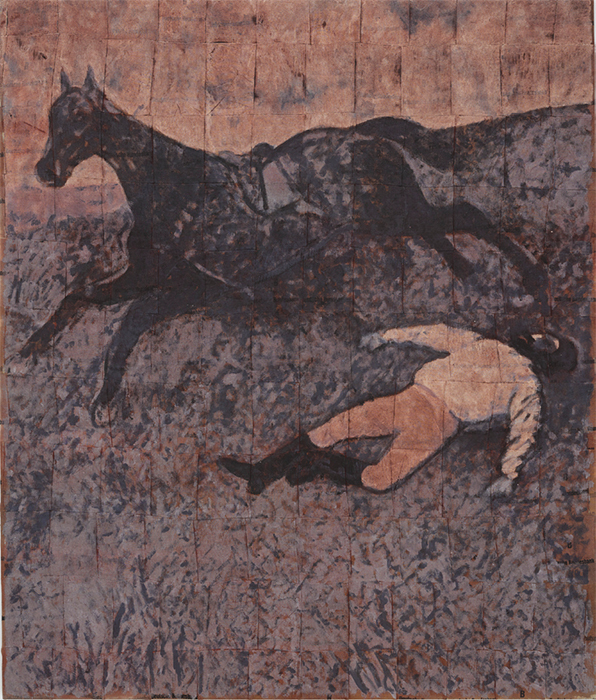"Sergej Jensen, Fired Jockey, 2016, acrylic on sewn money bags, 84 5/8 × 70 7/8""."