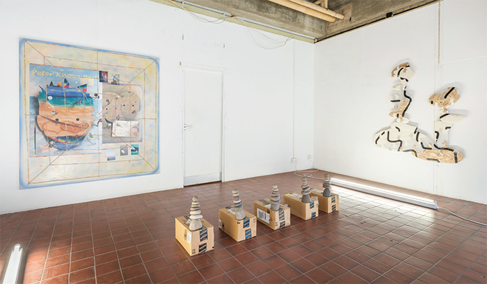 "View of ""Daniel Keller and Nicholas Cheveldave,"" 2016. From left: Nicholas Cheveldave, Pipe Dreams, 2015; Daniel Keller, AmazonGlobal-Priority Cairn Unit 2, 2013; Daniel Keller, Stack Relief (Kai Zuckerberg + Bushwick Kutcher), 2015. Photo: Damian Griffiths."