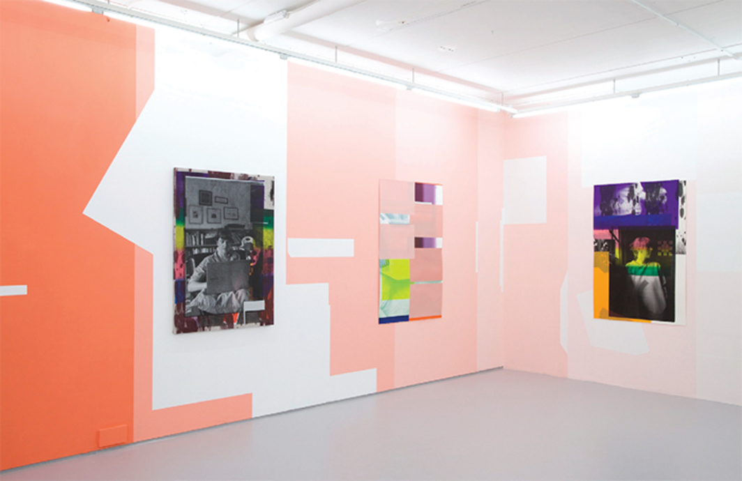 "View of ""Ciara Phillips,"" 2016. Walls: Forms we recognise, 2016. On walls, from left: Emily reading, 2015; no title, 2016; Of more or less, 2015."