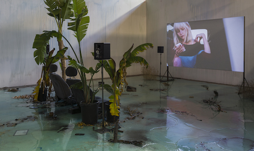 "View of ""Laure Prouvost: A Way to Leak, Lick, Leek,"" 2016. From left: A Way to Leak, Lick, Leek, 2016; Lick in the Past, 2016."