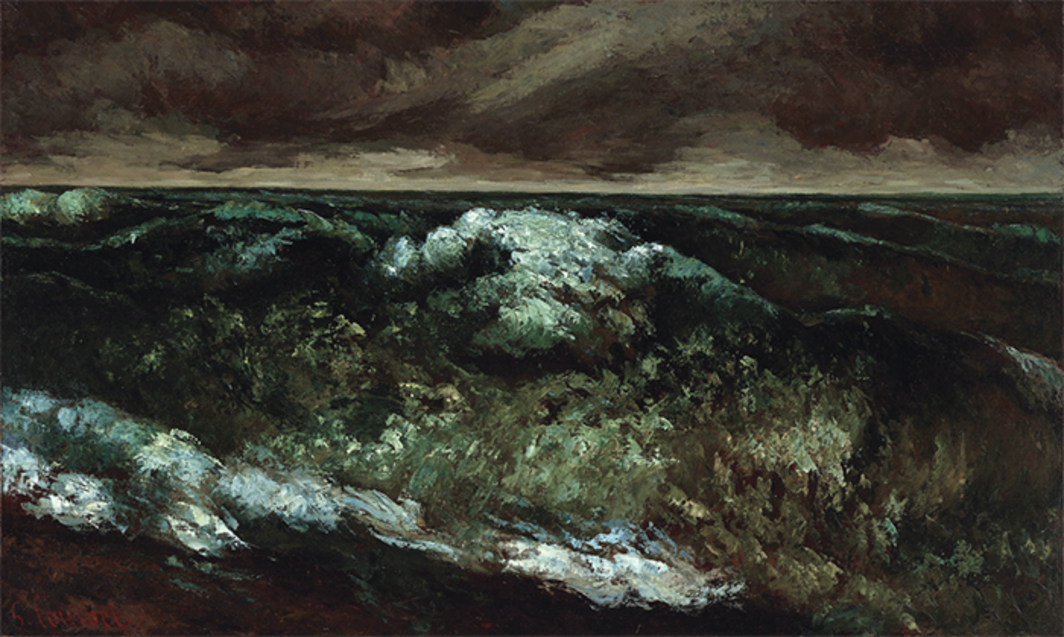 "*Gustave Courbet, _The Wave_, 1869–70*, oil on canvas, 22 × 36""."
