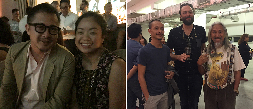Left: Artist Michael Lin and MCAD head of exhibition Fatima Manalili at Bank Bar. Right: Artists Buboy Cañafranca and Kawayan de Guia with filmmaker Kidlat Tahimik at MCAD. (All photos: Cristina Sanchez-Kozyreva)